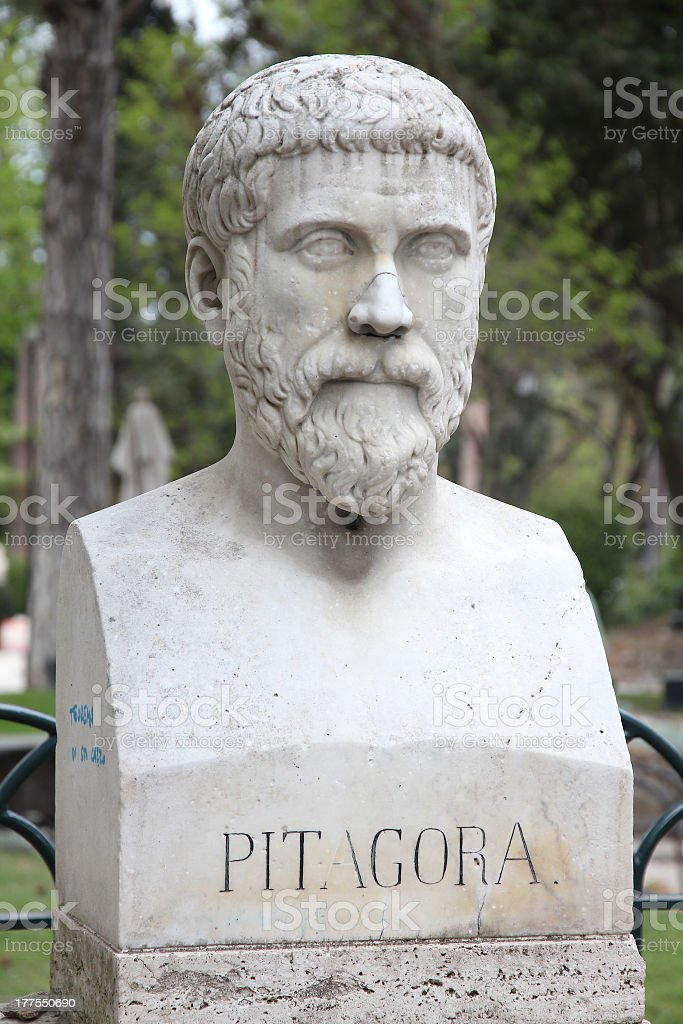 Close-up of Pythagoras bust sculpture at an outdoor park stock photo