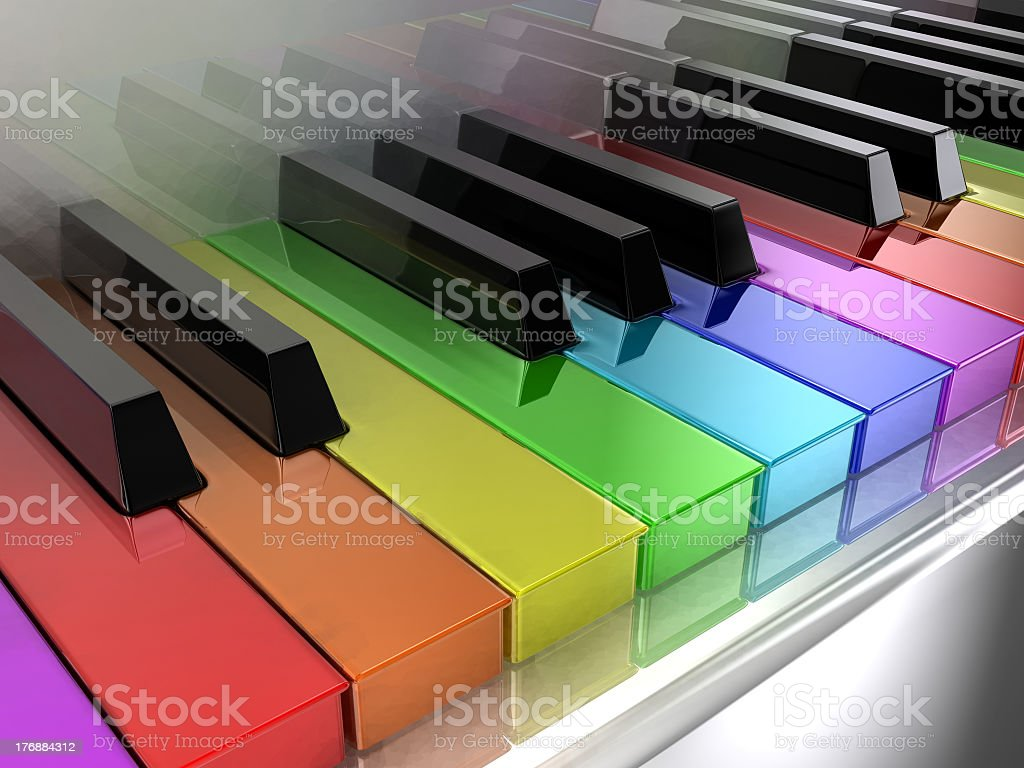Close-up of rainbow colored piano keys stock photo