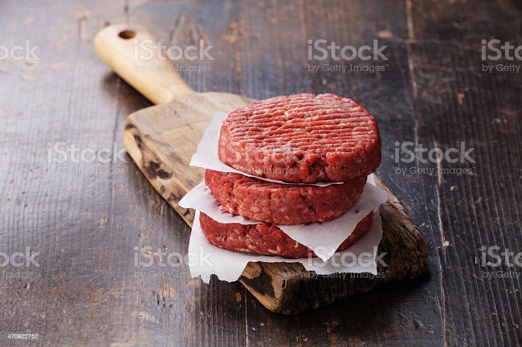 Close-up of raw ground beef mince patty stack stock photo