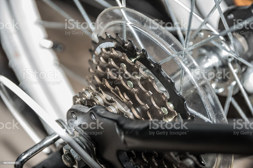 closeup of rears on racing bike stock photo