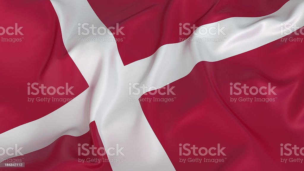 Close-up of red and white Denmark flag royalty-free stock photo