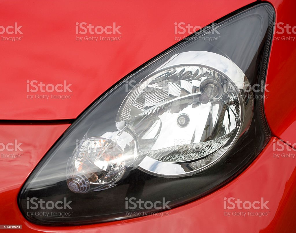 Close-up of red Car headlight stock photo