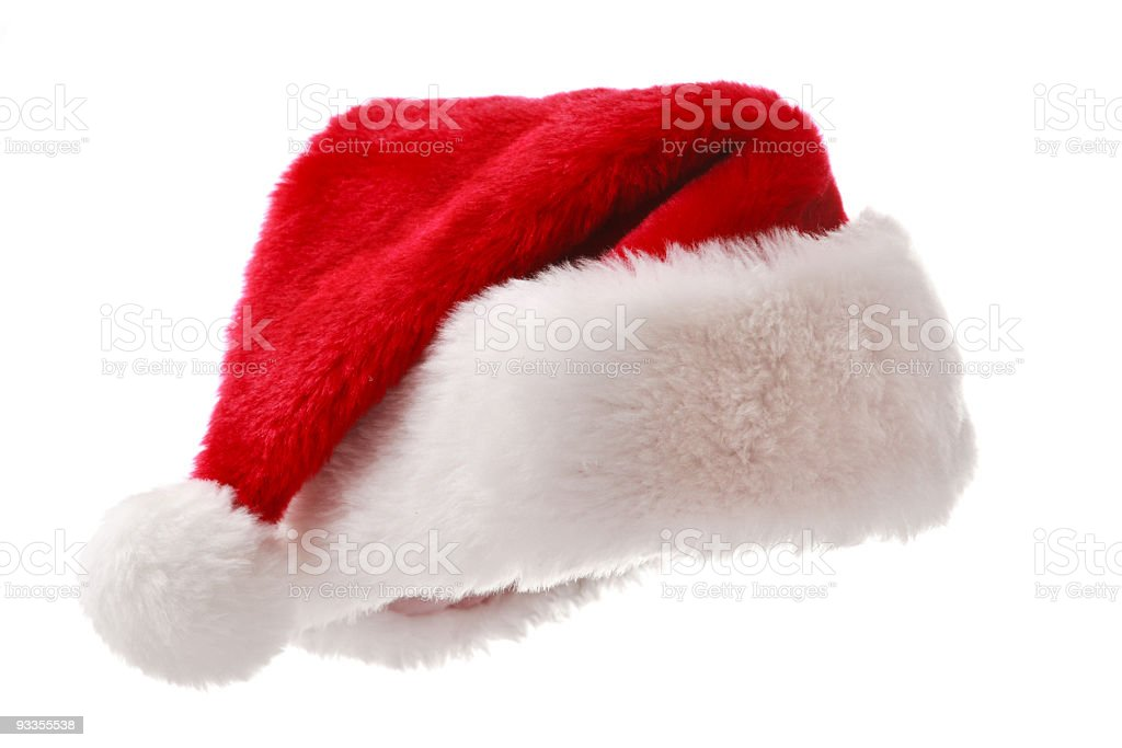 Close-up of red Santa hat with white fluffy edge royalty-free stock photo