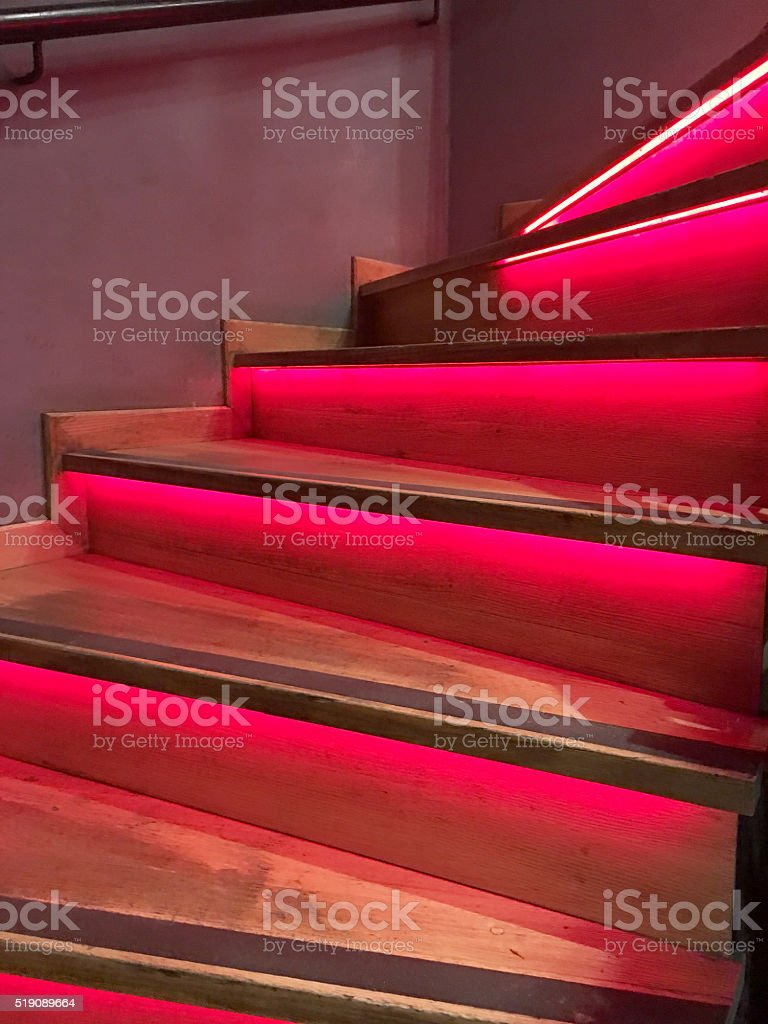 Close-up of red staircase stock photo