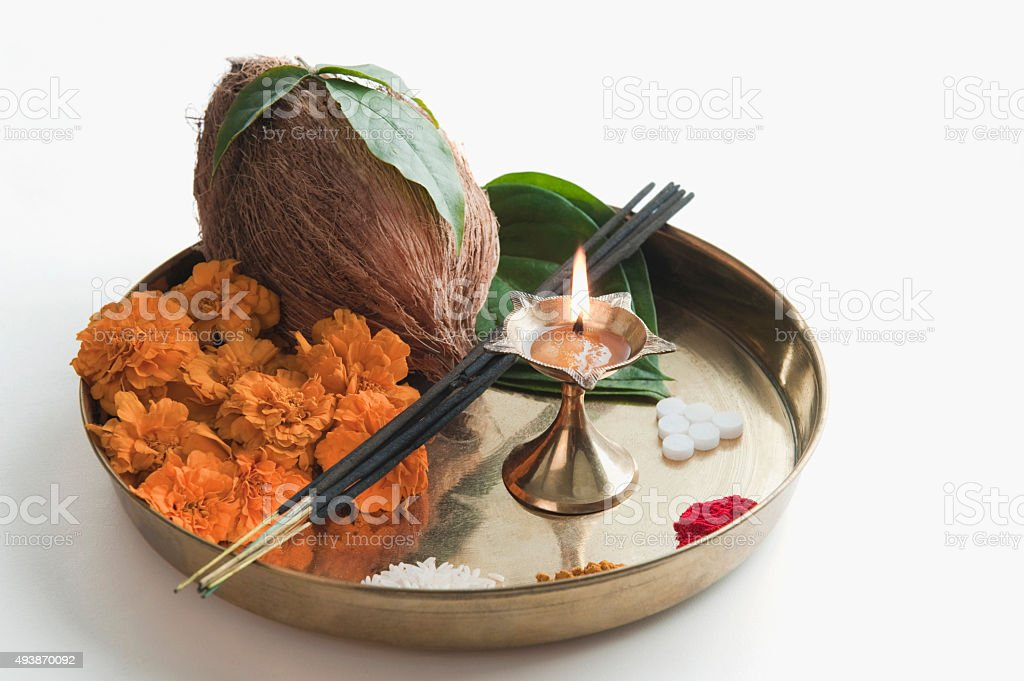 Close-up of religious offerings in a thali stock photo