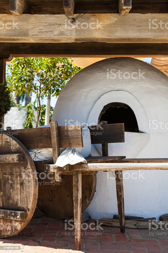 Close-up of replicated stove and wooden construction stock photo