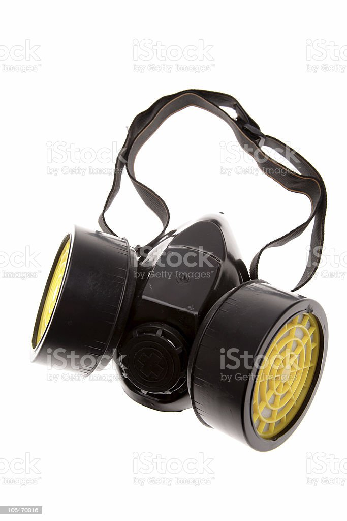 Close-up of respirator isolated on white background stock photo