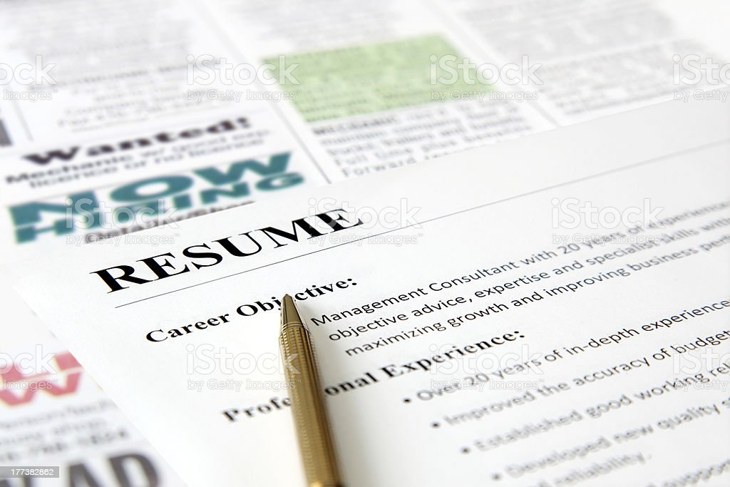 Closeup of Resume with Pen royalty-free stock photo