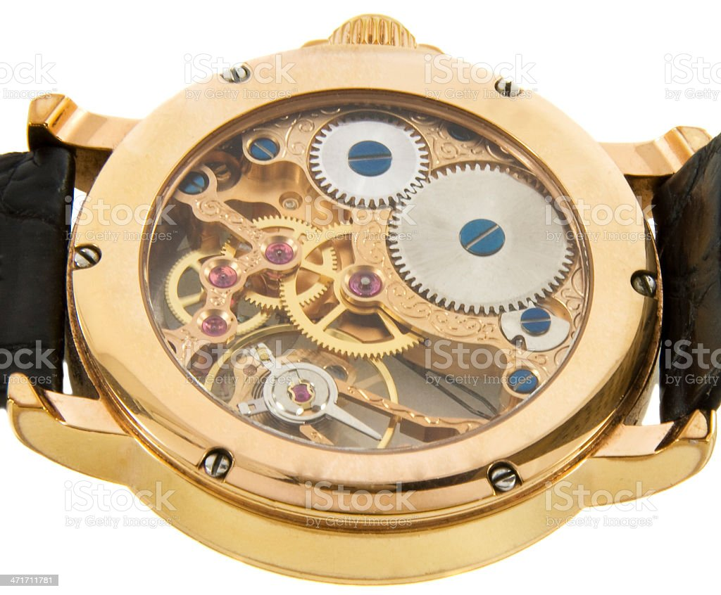 Closeup of rich gold swiss made chronograph watch royalty-free stock photo