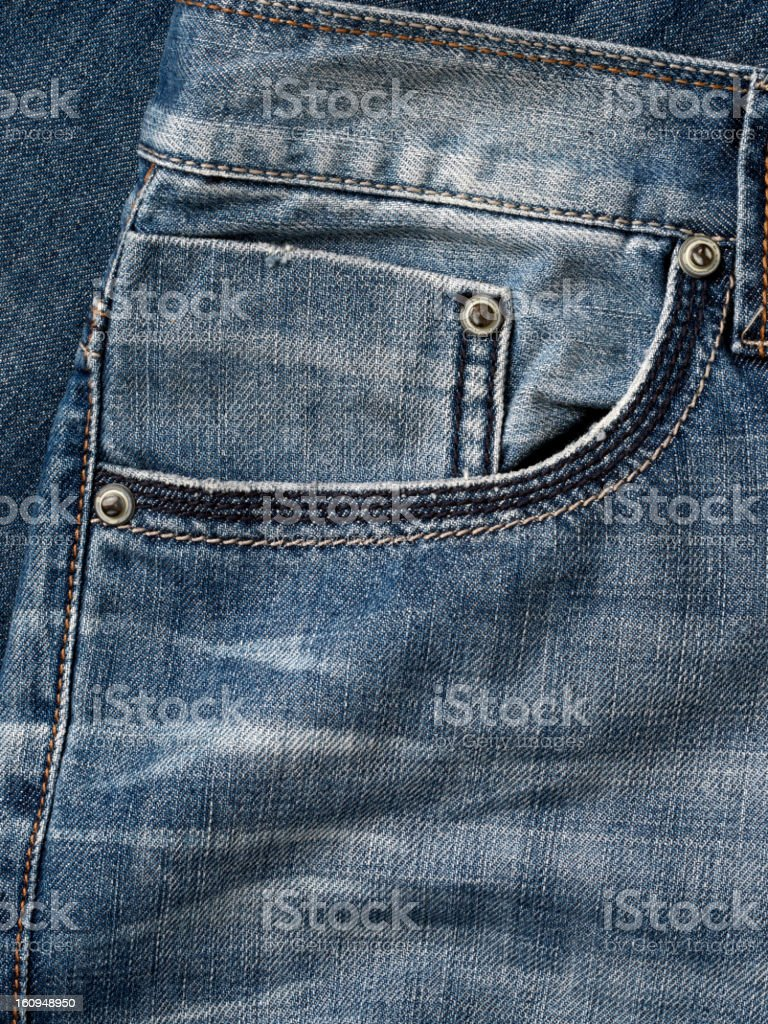 Close-up of right, front pocket of jeans stock photo