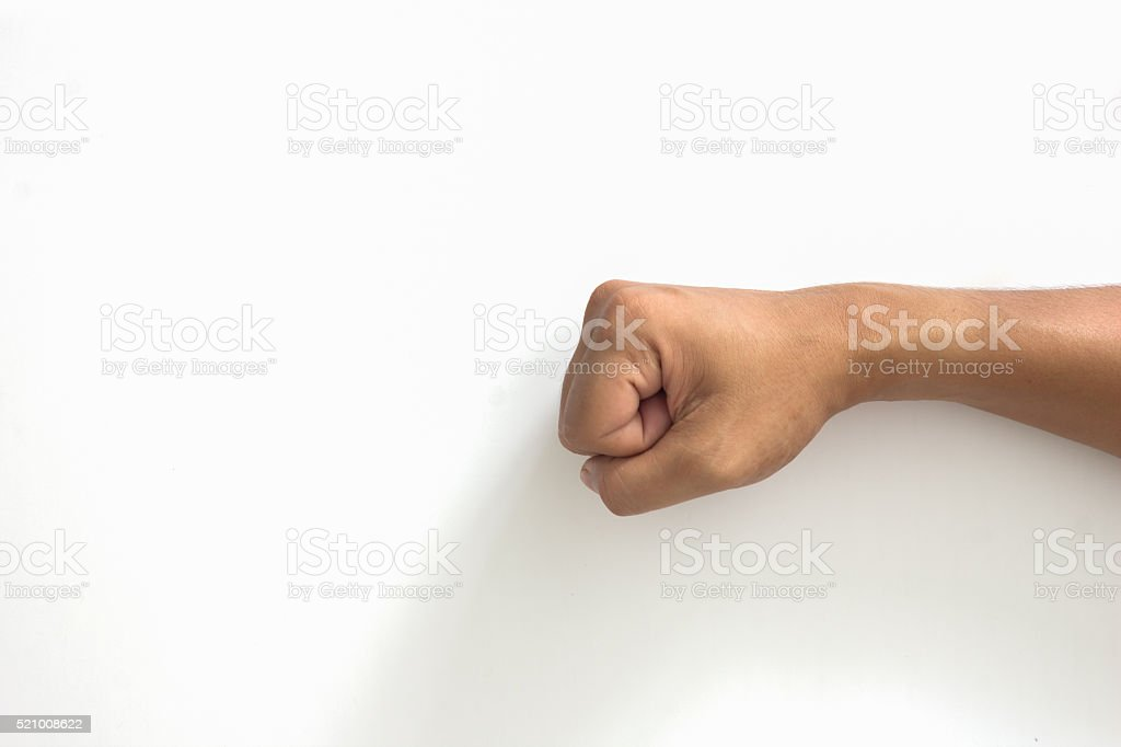 Closeup of right punch male hand stock photo