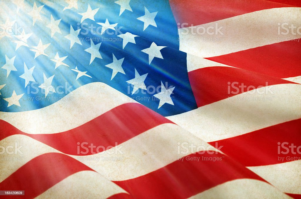 Close-up of rippling American Flag stock photo