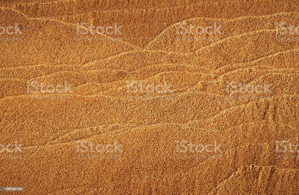 Close-up of river sand with horizontal tracery. stock photo