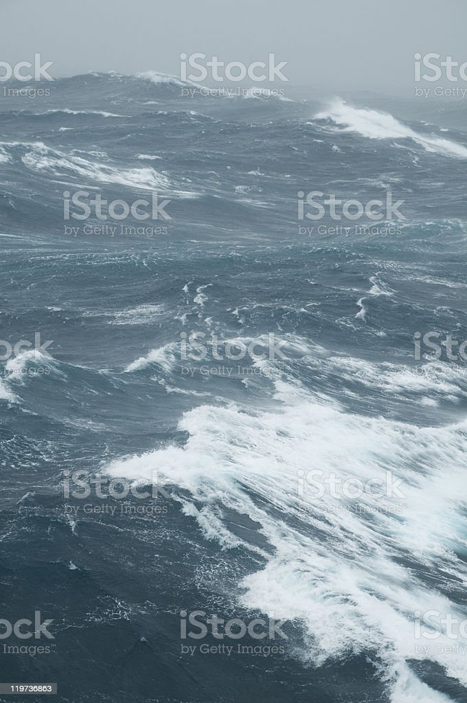 Close-up of roaring sea with surging waves in a stormy day stock photo