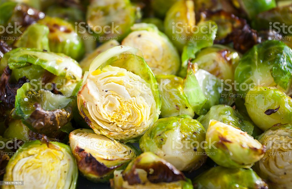 Close-up of roasted Brussels sprouts stock photo