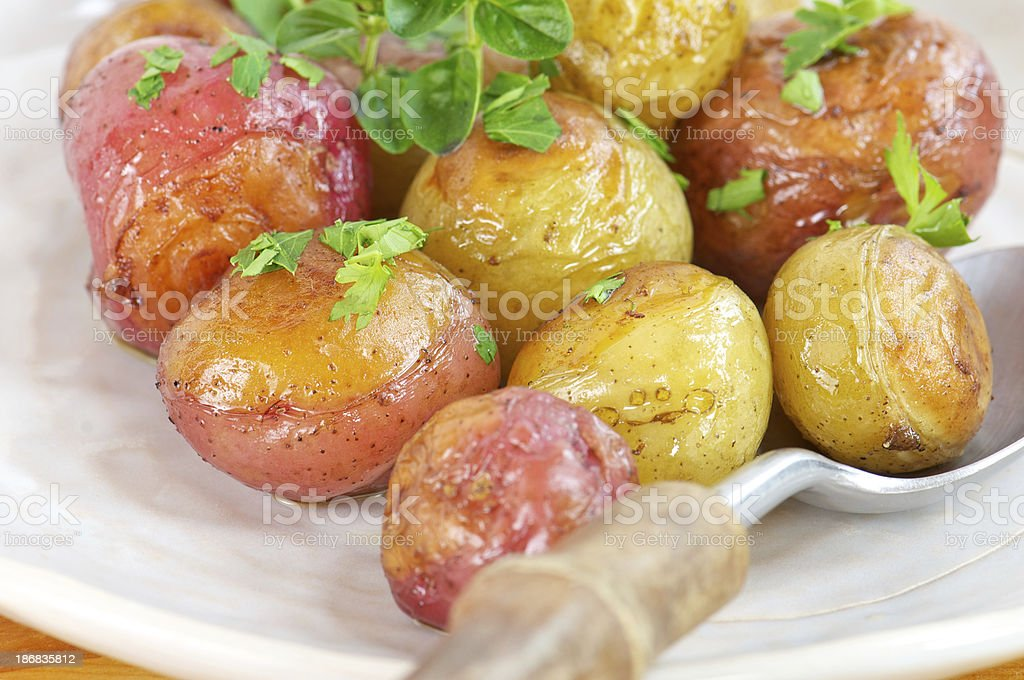 Close-up of Roasted New Potatoes royalty-free stock photo