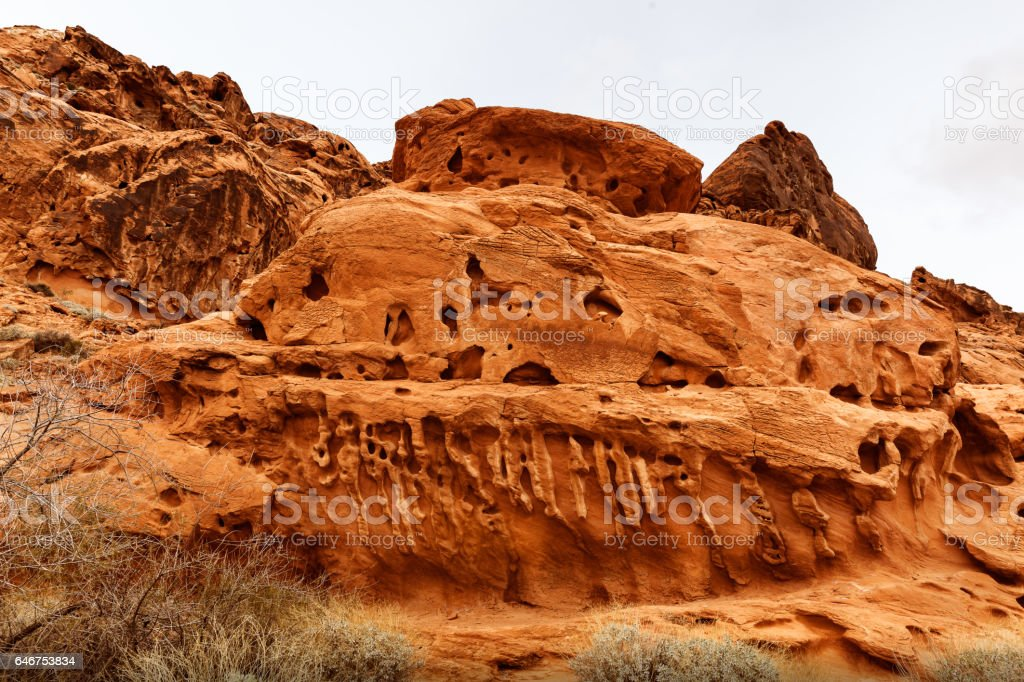 Closeup of Rock Formation at Valley of Fire, USA stock photo