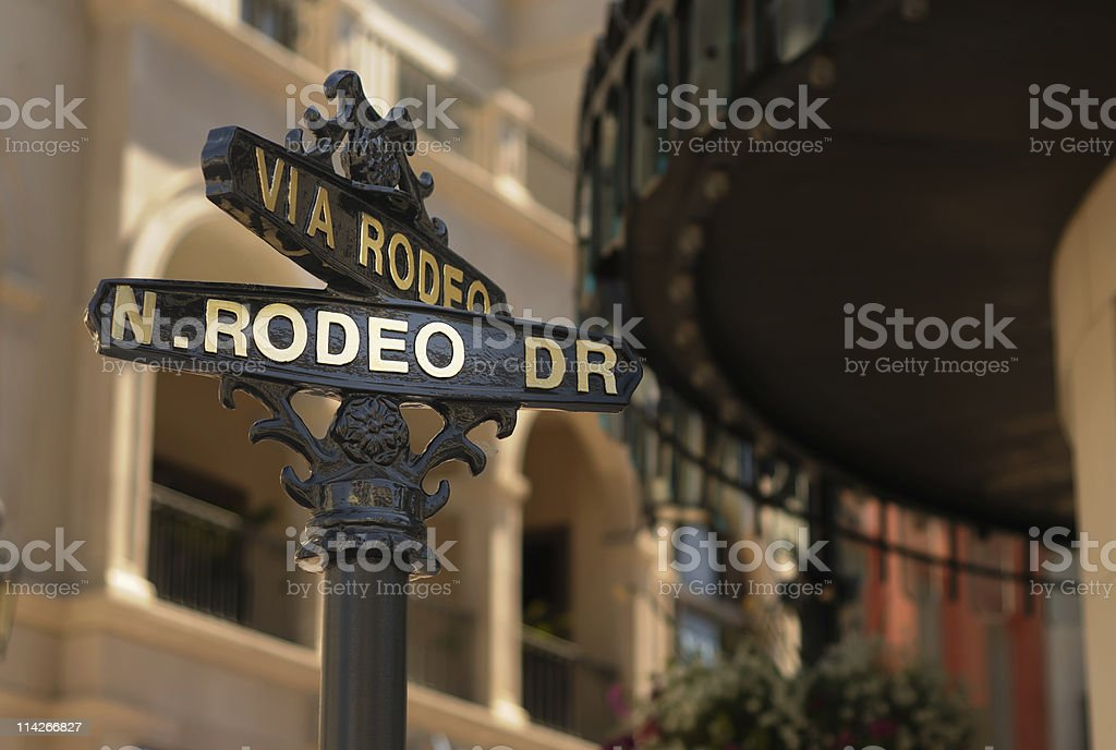 Close-up of Rodeo drive street sign in Beverly Hills stock photo