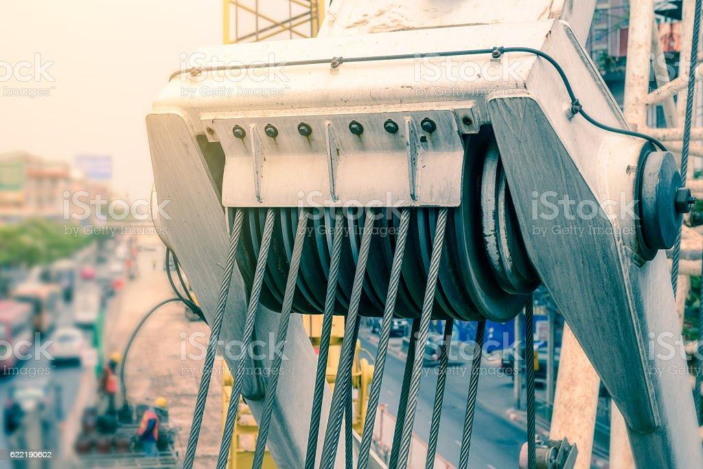 Closeup of roll crane sling. stock photo