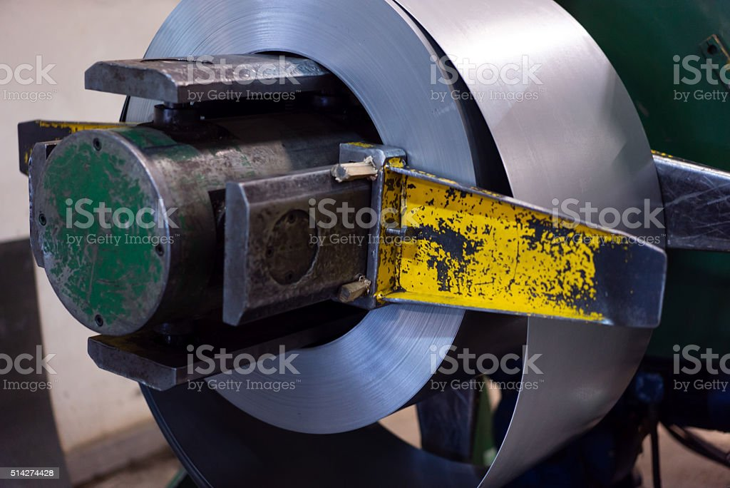 close-up of roll of metal sheet stock photo