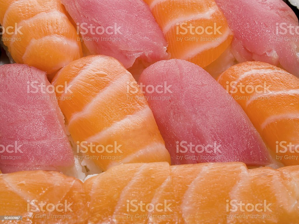 close-up of rolls and sushi - japanese traditional food background royalty-free stock photo
