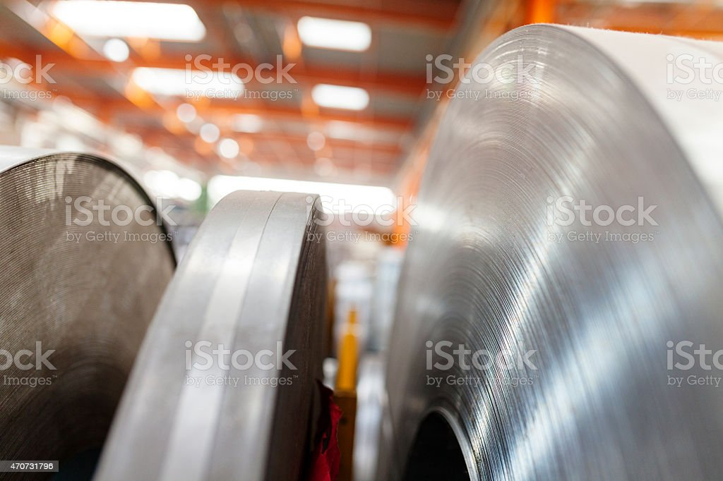 Close-up Of Rolls Of Steel Sheets stock photo