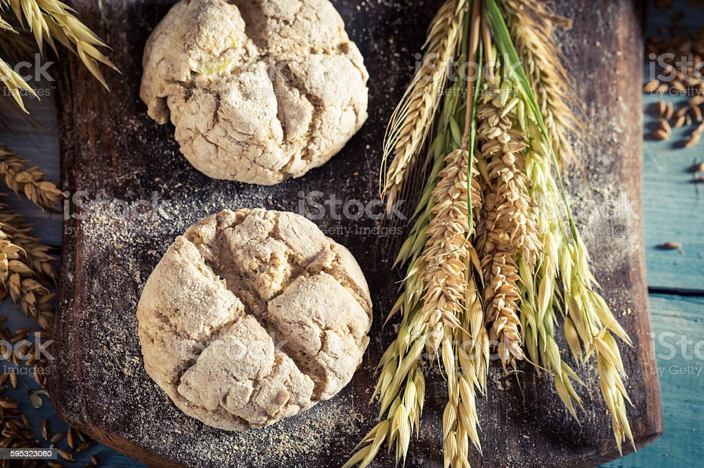 Closeup of rolls with several grains stock photo