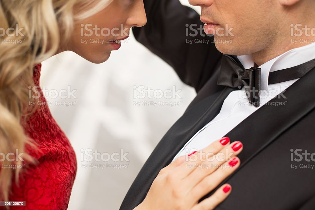 Close-up of romantic couple in love stock photo