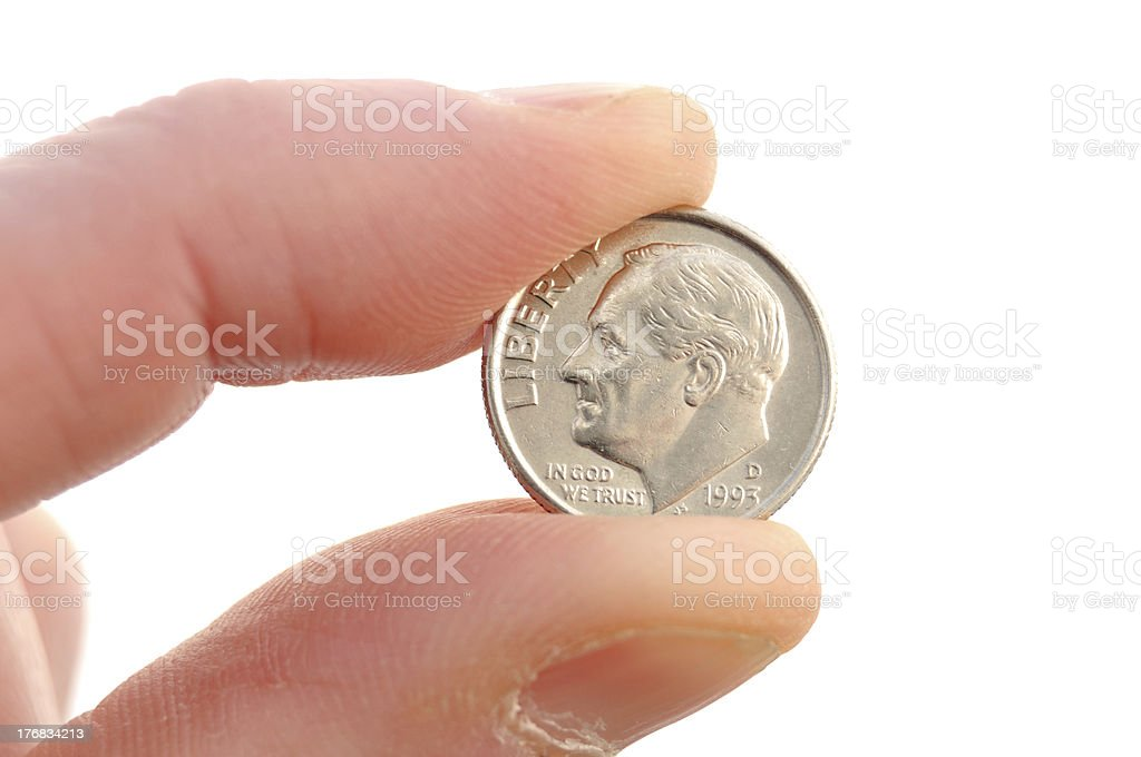 Close-up of Roosevelt Dime stock photo