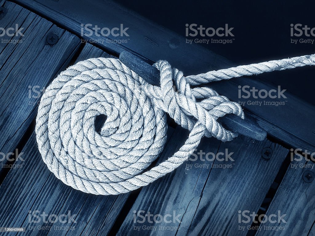 Close-up of rope tied as a nautical stock photo