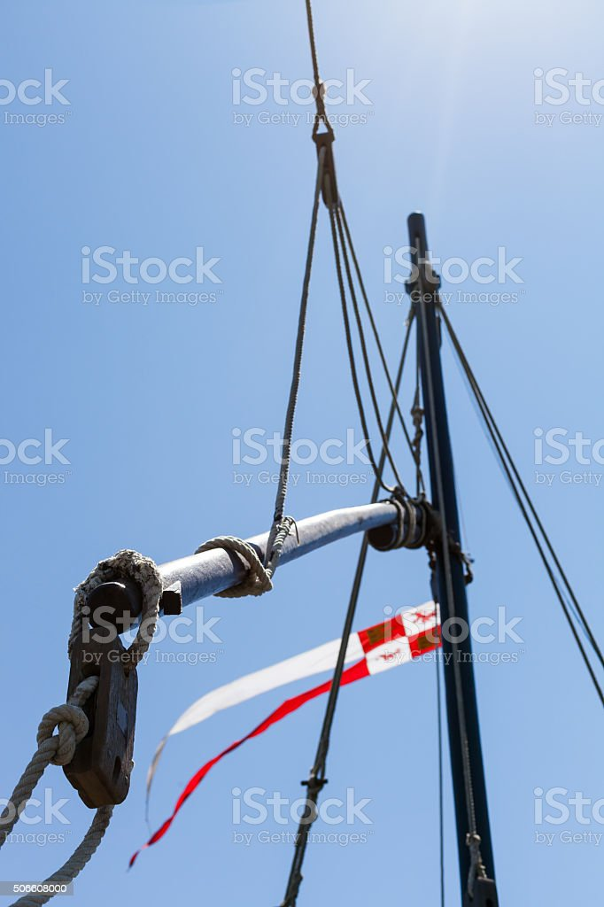 Close-up of ropes on ship's deck. From below stock photo