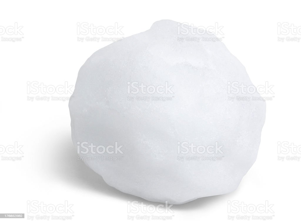 Close-up of round snowball against a white background stock photo