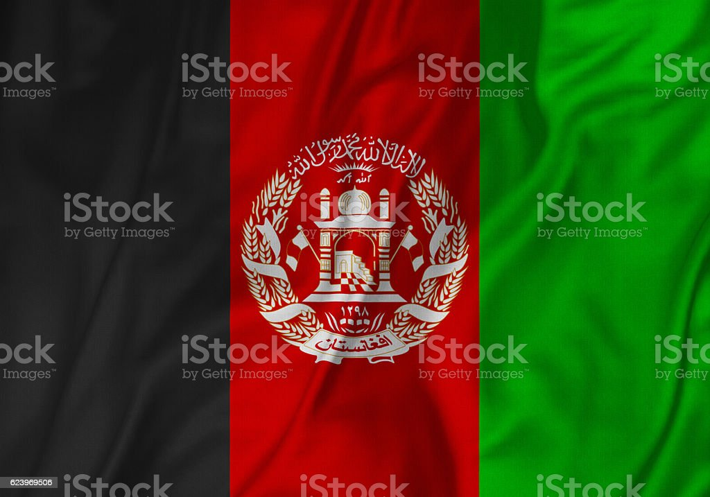 Closeup of Ruffled Afghanistan Flag, Afghanistan Flag Blowing in Wind stock photo