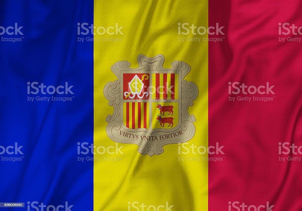 Closeup of Ruffled Andorra Flag, Andorra Flag Blowing in Wind stock photo