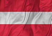Closeup of Ruffled Austria Flag, Austria Flag Blowing in Wind