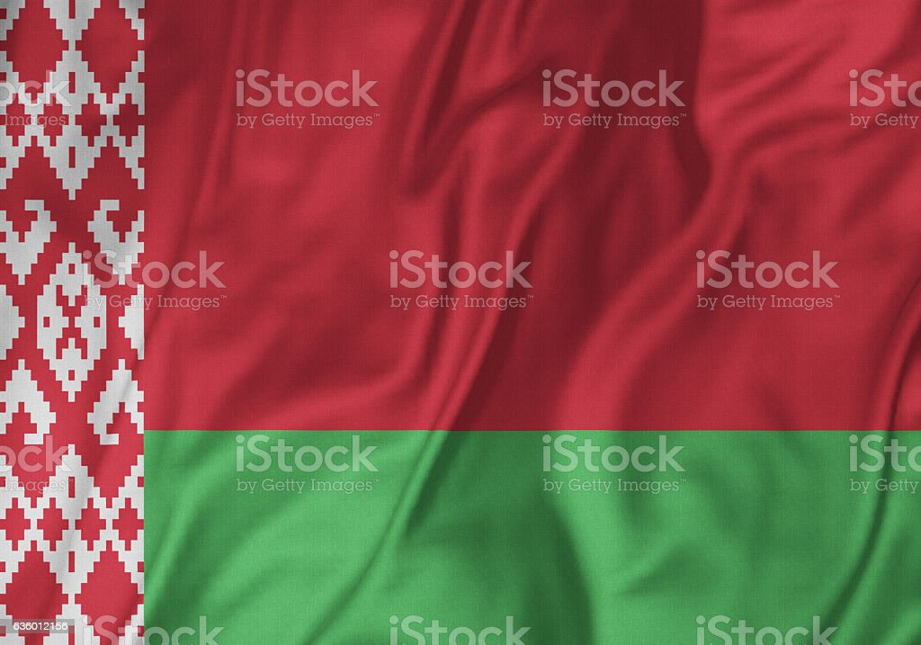 Closeup of Ruffled Belarus Flag, Belarus Flag Blowing in Wind stock photo