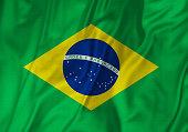 Closeup of Ruffled Brazil Flag, Brazil Flag Blowing in Wind