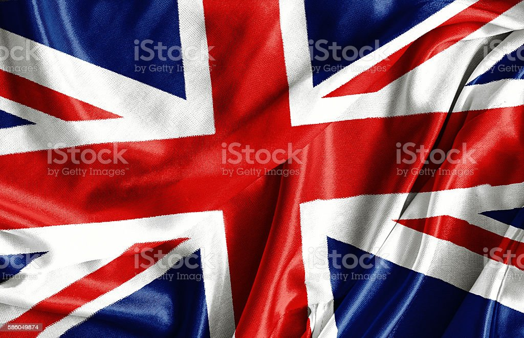 Closeup of ruffled British flag stock photo