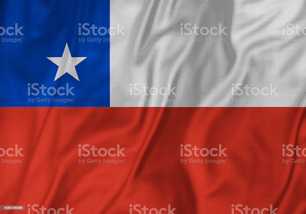 Closeup of Ruffled Chile Flag, Chile Flag Blowing in Wind stock photo