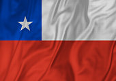Closeup of Ruffled Chile Flag, Chile Flag Blowing in Wind