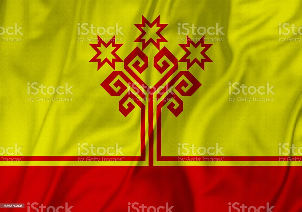 Closeup of Ruffled Chuvashia Flag, Chuvashia Flag Blowing in Wind stock photo
