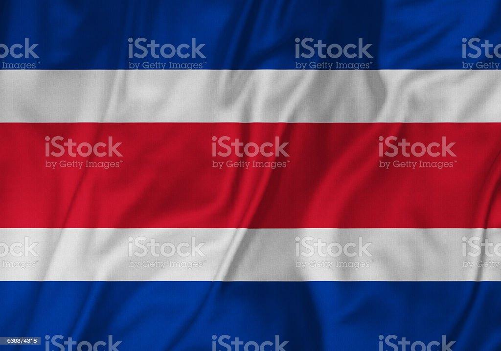 Closeup of Ruffled Costa Rica Flag, Costa Rica Flag Blowing in Wind stock photo