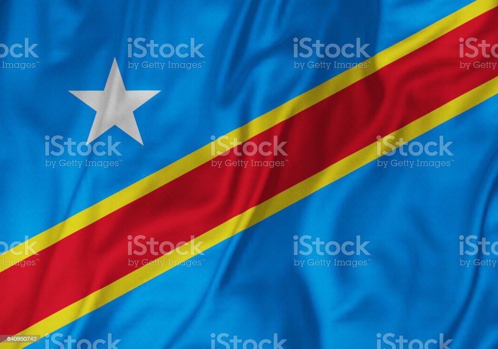 Closeup of Ruffled Democratic Republic of the Congo Flag, Democratic Republic of the Congo Flag Blowing in Wind stock photo