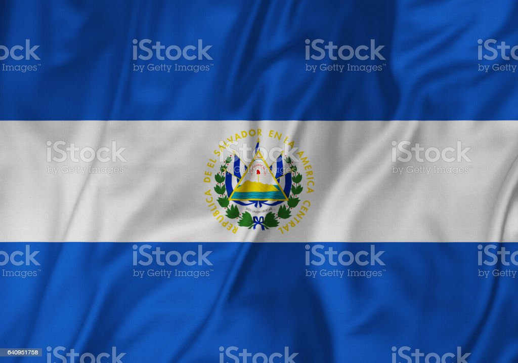 Closeup of Ruffled El Salvador Flag, El Salvador Flag Blowing in Wind stock photo