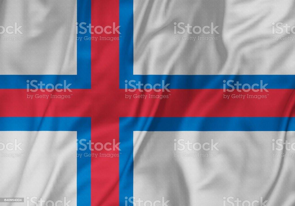 Closeup of Ruffled Faroe Islands Flag, Faroe Islands Flag Blowing in Wind stock photo