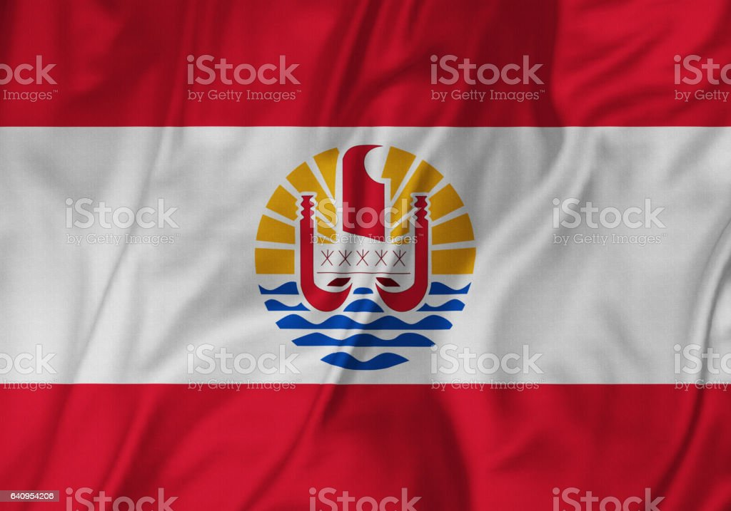 Closeup of Ruffled French Polynesia Flag, French Polynesia Flag Blowing in Wind stock photo