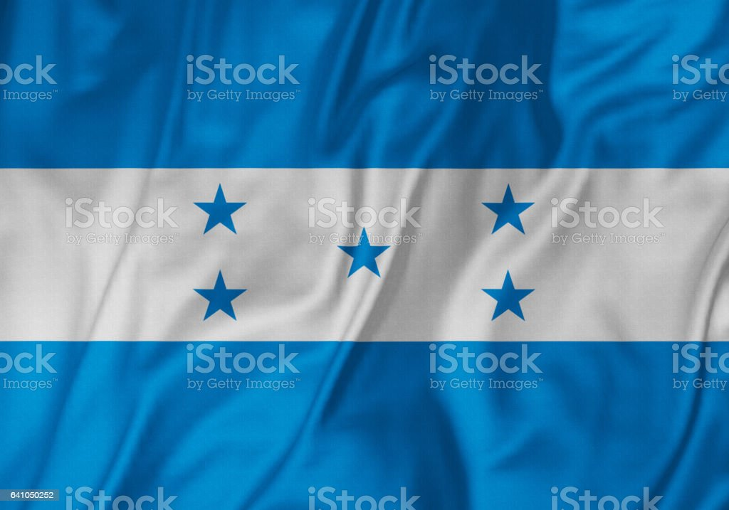 Closeup of Ruffled Honduras Flag, Honduras Flag Blowing in Wind stock photo
