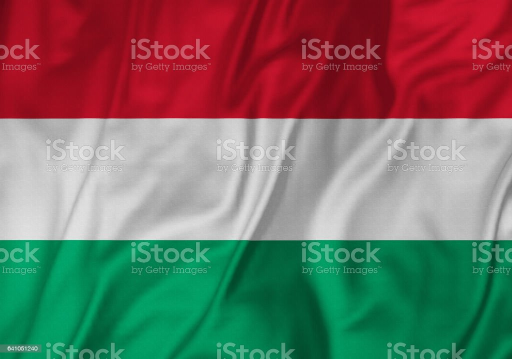 Closeup of Ruffled Hungary Flag, Hungary Flag Blowing in Wind stock photo