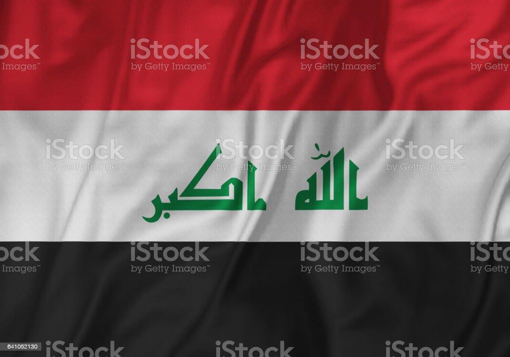 Closeup of Ruffled Iraq Flag, Iraq Flag Blowing in Wind stock photo