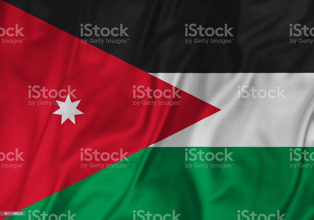 Closeup of Ruffled Jordan Flag, Jordan Flag Blowing in Wind stock photo